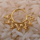 Unique Gold Plated Septum For Pierced Nose - Septum Jewelry - Indian Nose Ring - Ethnic Septum