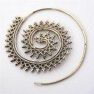 Brass Earrings - Brass Spiral Earrings - Gypsy Earrings - Brass Jewelry - Ethnic Earrings