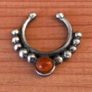 Ornamented Silver Septum For Non Pierced Nose - Indian Nose Ring - Tribal Septum - Nose Cuff