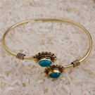 Beautiful And Delicate Brass Bracelet With Turquoise Gemstone - Tribal Jewelry