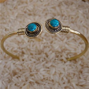 Beautiful And Delicate Brass Bracelet With Turquoise Gemstone - Tribal Jewelry -
