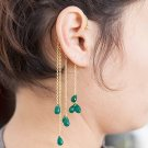 Gold Ear Cuff - Ear Wrap - Wrap Earrings - Gemstone Earrings - Green Onyx Ear Cuff
