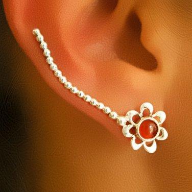 Silver Ear Cuff - Ear Climber - Climber Earrings - Gemstone Earrings - Red Onyx Ear Cuff