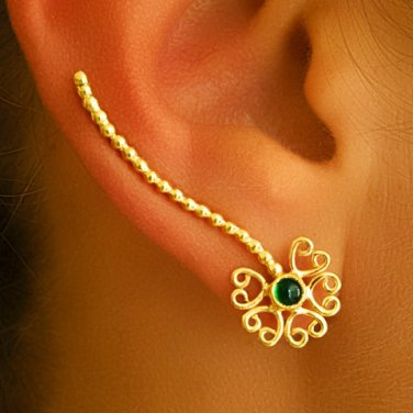 Gold Ear Cuff - Ear Climber - Climber Earrings - Gemstone Earrings - Onyx Ear Cuff