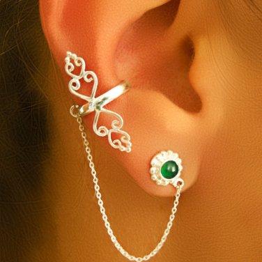 Silver Ear Cuff - Ear Climber - Climber Earrings - Gemstone Earrings - Onyx Ear Cuff -