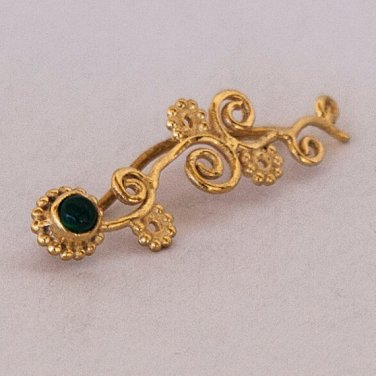 Gold Ear Cuff - Ear Climber - Climber Earrings - Gemstone Earrings - Green Onyx Ear Cuff