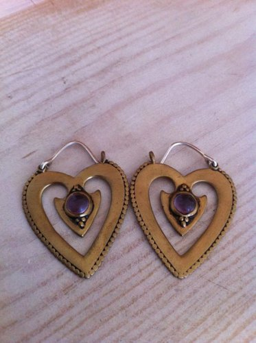 Beautiful Heart Gemstone Brass Earrings - Tribal Jewelry - Love Earrings - Brass Jewelry