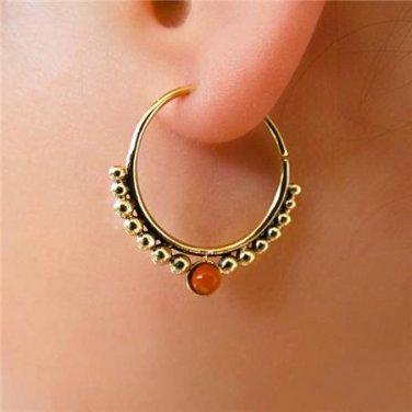 Brass Earring - Brass Hoops - Brass Tribal Earring - Hoops Jewelry - Brass Jewelry