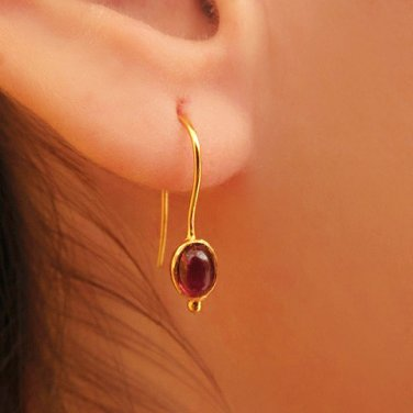 Elegant 18k Gold Sugilite Earrings - One Of A Kind - Statement Earrings - Gold Jewelry