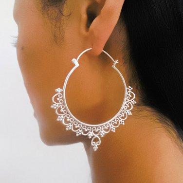 Silver Earrings - Silver Hoops - Ethnic Hoops - Gypsy Hoops - Ethnic Earrings - Heart Earrings