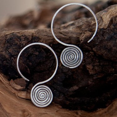 Silver Earrings - Geometric Earrings - Tribal Jewelry - Silver Jewelry - Native Jewery
