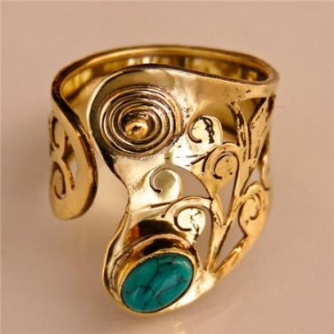 Adjustable Brass And Turquoise Ring - Tribal Jewelry - Ethnic Jewelry - Native American Jewelry