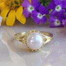 Gold White Pearl Gemstone Jewelry Charm Ring