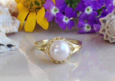 Gold White Pearl Gemstone Jewelry Charm Ring