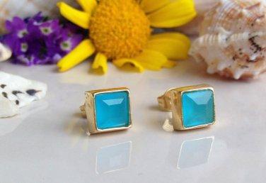 Blue Chalcedony Gemstone Gold Stud Earrings