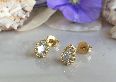 Clear Quartz April Birthstone Gold Stud Tiny Earrings