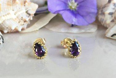 Amethyst February Birthstone Gold Stud Tiny Earrings