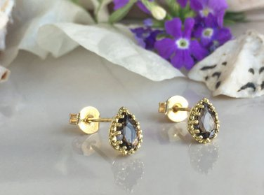 Smoky Quartz Gemstone Jewelry Small Stud Earrings