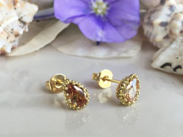 Citrine November Birthstone Jewelry Gold Stud Earrings