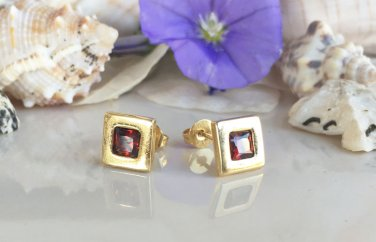 Garnet January Birthstone Gold Stud Post Earrings