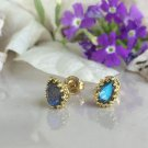 Labradorite Genuine Gemstone Gold Stud Earrings