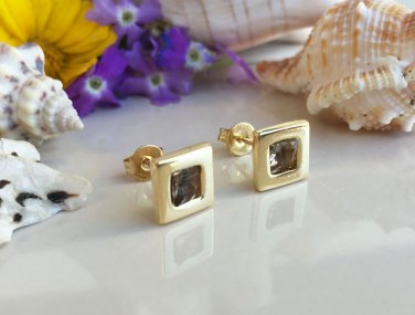Smoky Quartz Genuine Gemstone Gold Stud Earrings