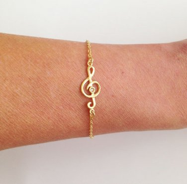 Gold Treble Clef Bracelet - Music Bracelet
