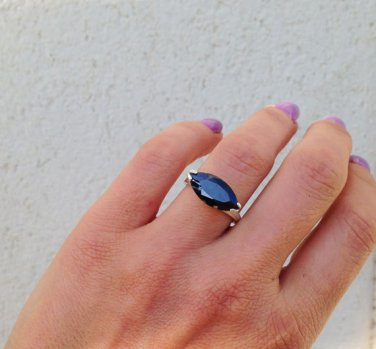 Black Onyx Ring - Coctail Ring - Silver Ring - Gemstone Band - Prong Set Ring