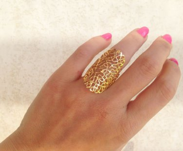 Gold Ring - Filigree Ring - Modern Ring - Lace Ring - Wide Flowers Ring