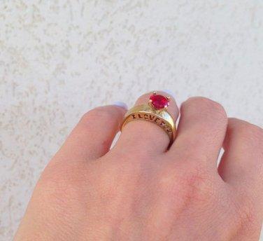 Garnet Ring - January Birthstone - Love Ring - Wedding Jewelry