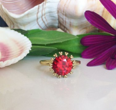 Garnet Ring - January Birthstone - Gold Ring - Promise Ring - Gemstone Ring