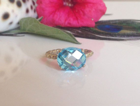 Blue Topaz Ring - December Birthstone - Gold Ring - Prong Ring