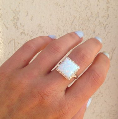 White Opal Ring - Silver Ring - Square Crown Ring - Gemstone Ring - Opal Jewelry