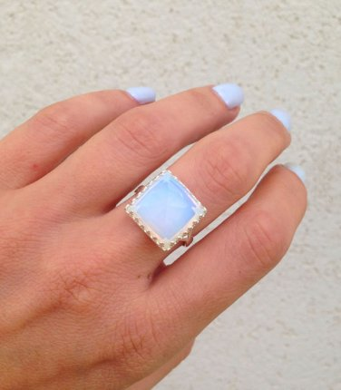 Opalite Ring - Square Crown Ring - Gemstone Ring - Delicate Ring