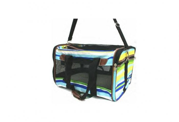 Large Blue Striped Pet Carrier FREE SHIPPING