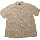 Mens Brown Tan CHAPS RALPH LAUREN Short Sleeve Shirt XL Flax Blend