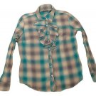 Womens Green Brown Gray NEW YORK & CO Button Front Blouse Large