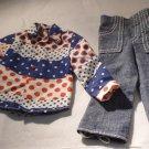 Vintage Barbie & Friends Ken Red White Blue Shirt Jeans Denims For Fun 3376