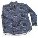 Mens Blue Black Brown MUNSINGWEAR Button Down Shirt Large