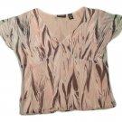 Womens Multi-Color NEW YORK & COMPANY Pullover Blouse XL 100% Nylon