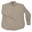 Mens Blue Tan Gray DOCKERS Button Down Shirt Large