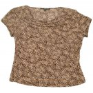 Womens Brown Tan BRIGGS NEW YORK Pullover Blouse PL