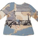 Womens Blue White Brown CHRISTOPHER & BANKS 3/4 Sleeve Blouse Large Cotton Blend