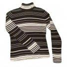 Womens Black White LIZ CLAIBORNE Turtleneck Sweater L Large 100% Cotton