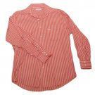 Mens Red White Stripe ALEX CANNON Button Down Long Sleeve Shirt Medium