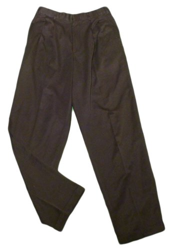 Mens Black PERRY ELLIS Pleated Dress Pants 30 X 31 1/2 100% Polyester