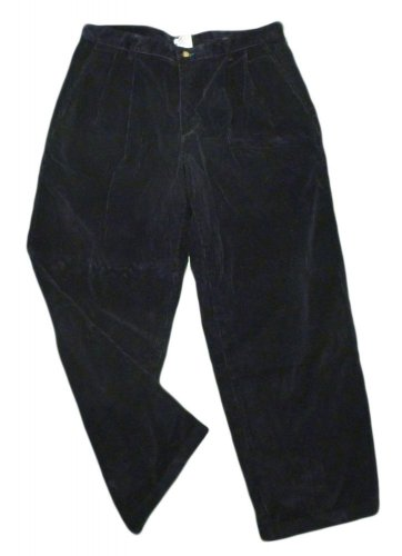 Mens Blue TOMMY HILFIGER Pleated Corduroy Pants 36 X 27 1/2