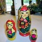 RUSSIAN Woman SWEET Mother w/Children NESTING DOLLS Rare RUSSIA USSR