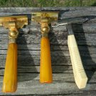 Lot 3 VINTAGE Mens Safety Razors BAKELITE Handles SCHICK INJECTOR ~Gold ~1930'S