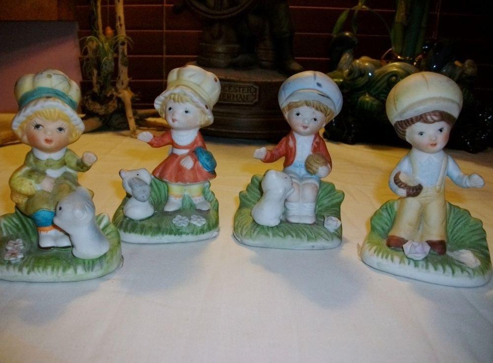 """4 pc"" Vintage HOMCO Porcelain Figurine / # 1430 / Boy ~ Girl Kitten & Puppy"